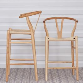Ash Rattan Wishbone Stool
